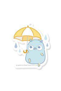 【アクリルキーホルダー】雨とGopherくん