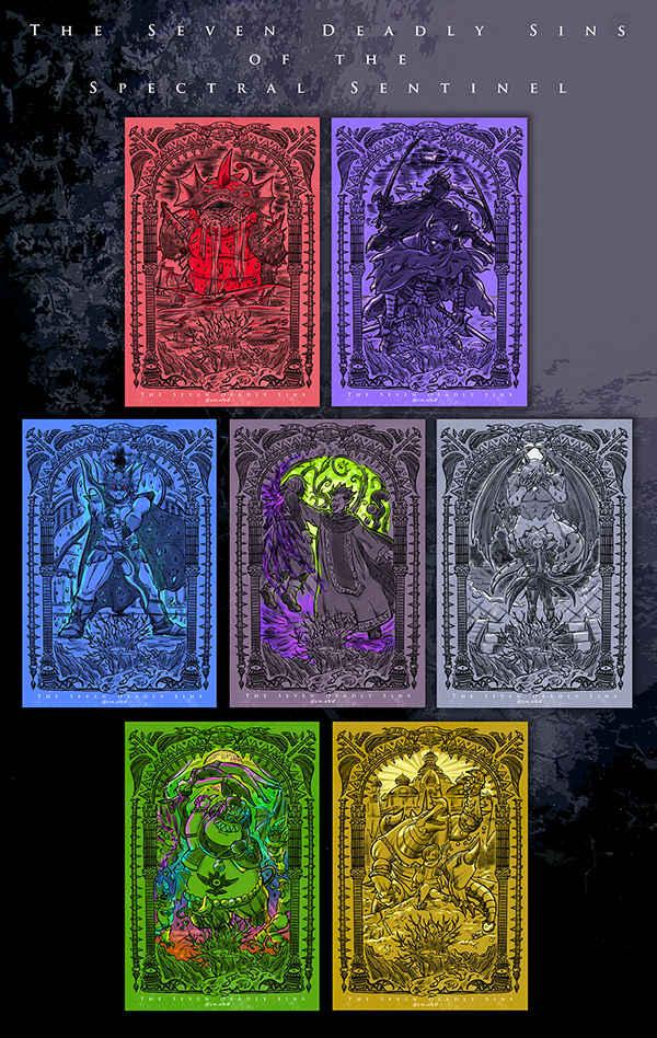 DQ11六軍王「七つの大罪」ポストカード [RGB100!(sin)] ドラゴンクエスト