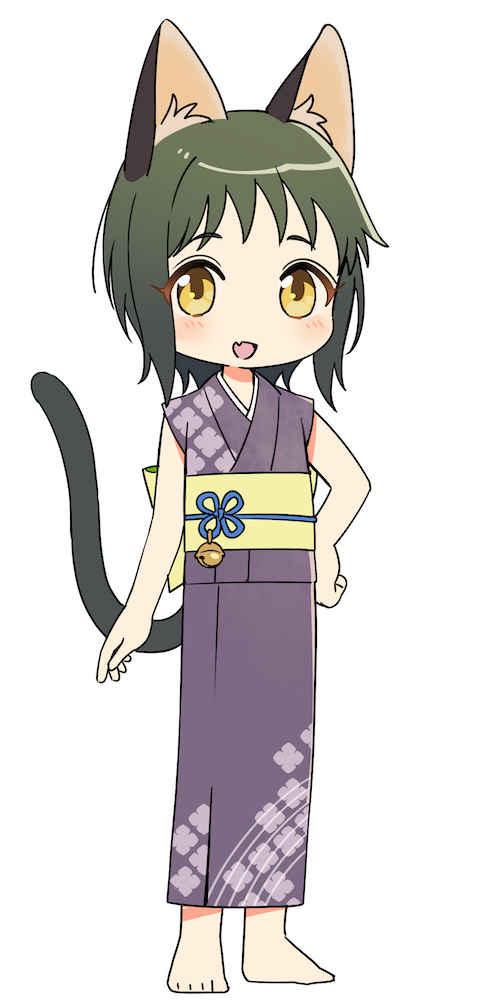 (OTH)ねこぐらし。 ラバーキーホルダー クロ猫