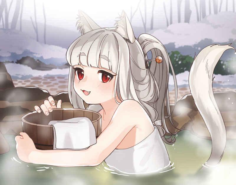 (OTH)ねこぐらし。 F6キャンバス 猫神様・温泉