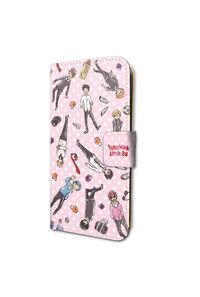 A3 手帳型スマホケース(iPhone6/6s/7兼用)「ヤリチン☆ビッチ部」02/ちりばめデザイン・ピンク(グラフアートデザイン)